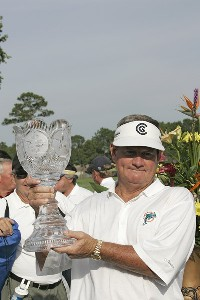 Bobby Wadkins holds the trophy after the third and final round of the Boeing Championship at Sandestin at Raven Golf Club in Destin, Florida on May 14, 2006.Photo by Michael Cohen/WireImage.com