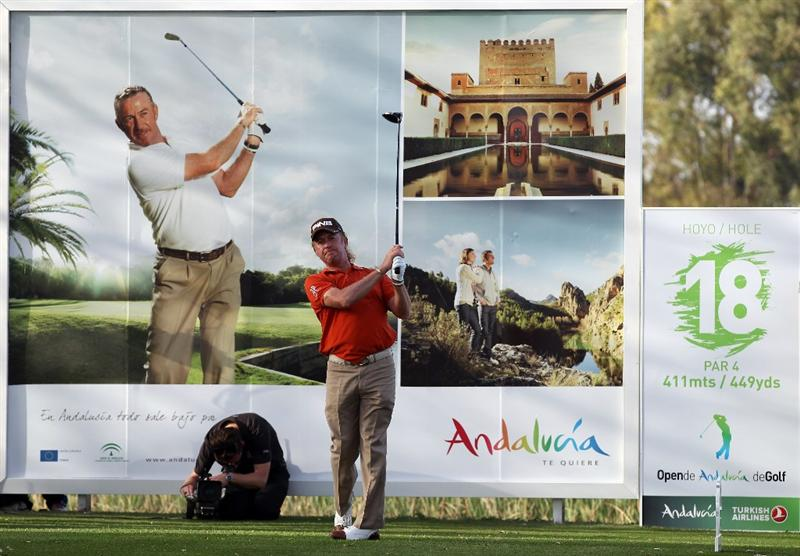 MALAGA, SPAIN - MARCH 24:  Miguel Angel Jimenez of Spain during the first round of the Open de Andalucia at the Parador de Malaga Golf Course on March 24, 2011 in Malaga, Spain.  (Photo by Ross Kinnaird/Getty Images)