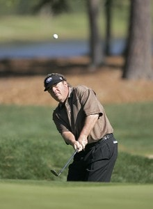Joey Sindelar hitting from the second fairway rough during the third round of THE PLAYERS Championship held at the TPC Stadium Course in Ponte Vedra Beach, Florida on March 25, 2006.Photo by Chris Condon/PGA TOUR/WireImage.com