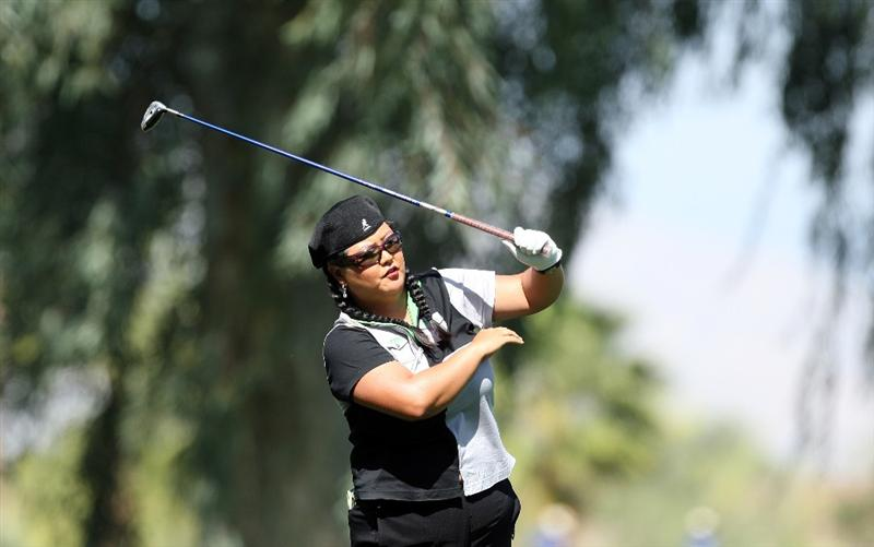 RANCHO MIRAGE, CA - APRIL 03:  Christina Kim of the USA plays her second shot at the 9th hole during the second round of the 2009 Kraft Nabisco Championship, at the Mission Hills Country Club on April 3, 2009 in Rancho Mirage, California  (Photo by David Cannon/Getty Images)