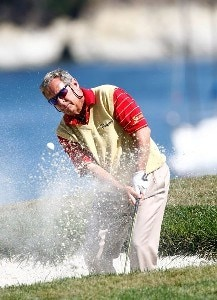 Fuzzy Zoeller hits out a bunker on the 17th green during the Wal-Mart First Tee Open at Pebble Beach during the Champions Tour on September 2, 2007 at Pebble Beach, California. Champions Tour - 2007 Wal-Mart First Tee Open at Pebble Beach - Final RoundPhoto by Greg Trott/WireImage.com