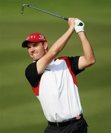 SHANGHAI, CHINA - NOVEMBER 04:  Padraig Harrington of Ireland hits his second shot on the 13th hole during the first round of the WGC-HSBC Champions at Sheshan International Golf Club on November 4, 2010 in Shanghai, China.  (Photo by Andrew Redington/Getty Images)