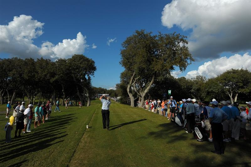SAN ANTONIO - OCTOBER 25: Andy Bean makes a tee shot on the 18th hole during the final round of the PGA Champions Tour AT&T Championship at the Oak Hills Country Club on October 25, 2009 in San Antonio, Texas.  (Photo by Robert Laberge/Getty Images)