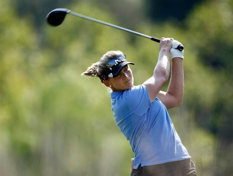 DANVILLE, CA - SEPTEMBER 27:  Angela Stanford tees off on the 3rd hole during the final round of the CVS/pharmacy LPGA Challenge at Blackhawk Country Club on September 27, 2009 in Danville, California.  (Photo by Jonathan Ferrey/Getty Images)