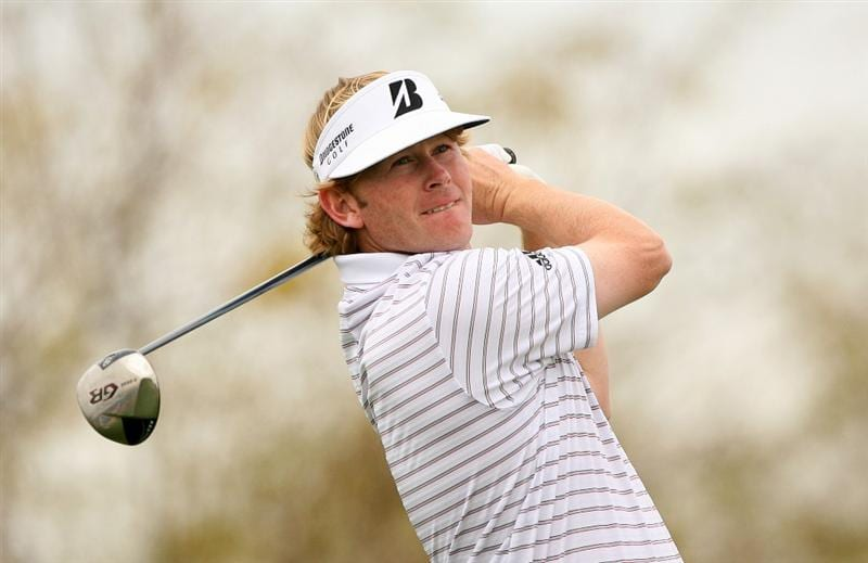 SCOTTSDALE, AZ - FEBRUARY 27: Brandt Snedeker hits his tee shot on the ninth hole during the third round of the Waste Management Phoenix Open at TPC Scottsdale on February 27, 2010 in Scottsdale, Arizona. (Photo by Hunter Martin/Getty Images)