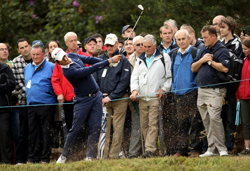 VIRGINIA WATER, ENGLAND - MAY 27:  Matteo Manassero of Italy hits from the rough during the second round of the BMW PGA Championship at the Wentworth Club on May 27, 2011 in Virginia Water, England.  (Photo by Ian Walton/Getty Images)