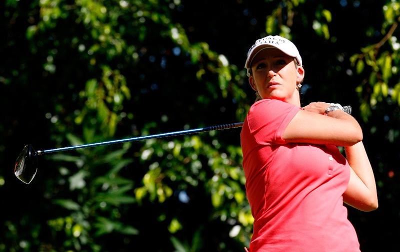GUADALAJARA, MEXICO - NOVEMBER 14:  Cristie Kerr of the United States tees off the fifth hole during the third round of the Lorena Ochoa Invitational Presented by Banamex and Corona at Guadalajara Country Club on November 14, 2009 in Guadalajara, Mexico.  (Photo by Kevin C. Cox/Getty Images)