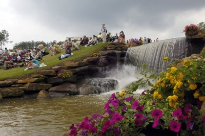 Fans watch the action on the hill overlooking the 18th green during the third and final round of the Regions Charity Classic held at Robert Trent Jones Golf Trail at Ross Bridge in Birmingham, AL, on May 7, 2006.Photo by Steve Levin/WireImage.com