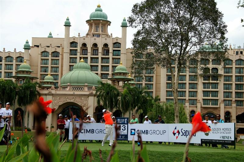 KUALA LUMPUR, MALAYSIA - OCTOBER 31: Carl Pettersson of Sweden tees off on the 13th hole during day four of the CIMB Asia Pacific Classic at The MINES Resort & Golf Club on October 31, 2010 in Kuala Lumpur, Malaysia. (Photo by Stanley Chou/Getty Images)