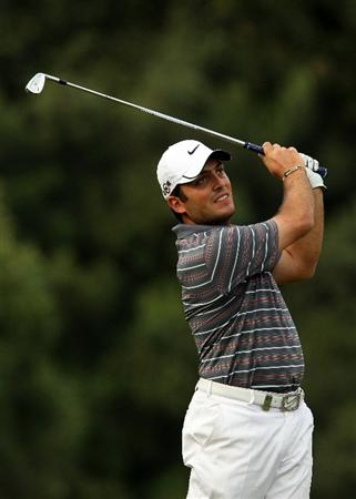 SOTOGRANDE, SPAIN - OCTOBER 28:  Francesco Molinari of Italy plays into the 5th green during the first round of the Andalucia Valderrama Masters at Club de Golf Valderrama on October 28, 2010 in Sotogrande, Spain.  (Photo by Richard Heathcote/Getty Images)