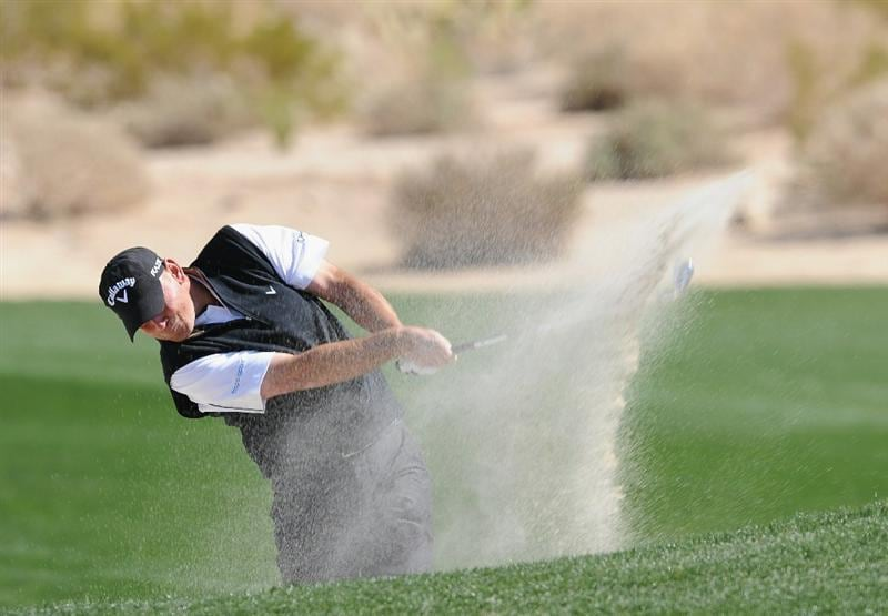 MARANA, AZ - FEBRUARY 23:  Thomas Bjorn of Denmark bunker his tee shot on the second hole during the first round of the World Golf Championships-Accenture Match Play Championship held at The Ritz-Carlton Golf Club, Dove Mountain on February 23, 2011 in Marana, Arizona.  (Photo by Stuart Franklin/Getty Images)