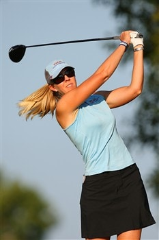 ROGERS, AR - JULY 4: Jill McGill hits a tee shot during the first round of the P&G Beauty NW Arkansas Championship presented by John Q. Hammons on July 4, 2008 at Pinnacle Country Club in Rogers, Arkansas. (Photo by G. Newman Lowrance/Getty Images)