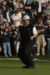 Billy Mayfair reacts to a putt during the third round of the FBR Open held at the TPC Scottsdale on February 3, 2007 in Scottsdale, Arizonia. PGA TOUR - 2007 FBR Open - Third Round - February 3, 2007Photo by Marc Feldman/WireImage.com