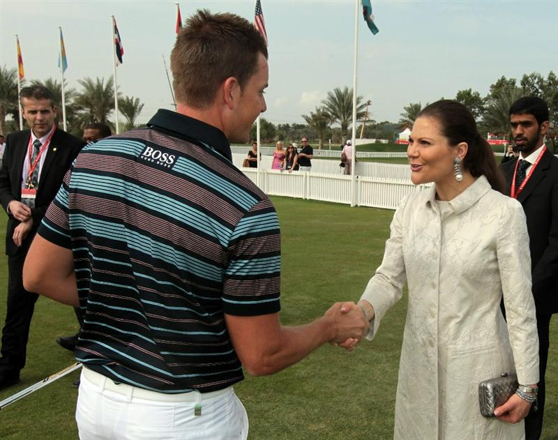 ABU DHABI, UNITED ARAB EMIRATES - JANUARY 20:  Princess Victoria of Sweden meets star professional golfer Henrik Stenson of Sweden before he teed off in the first round of the 2011 Abu Dhabi HSBC Golf Championship to be held at the Abu Dhabi Golf Club on January 20, 2011 in Abu Dhabi, United Arab Emirates.  (Photo by David Cannon/Getty Images)