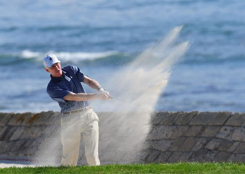PEBBLE BEACH, CA - FEBRUARY 12:  Billy Payne plays his buner shot on the 18th hole during round two of the AT&T Pebble Beach National Pro-Am at Pebble Beach Golf Links on February 12, 2010 in Pebble Beach, California.  (Photo by Stuart Franklin/Getty Images)