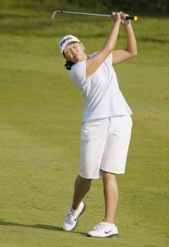 Dorothy Delasin hits her approach shot to the 16th green during the third round of the 2005 BMO Financial Group Canadian Women's Open in Halifax, Nova Scotia July 16, 2005.Photo by Kevin Rivoli/WireImage.com