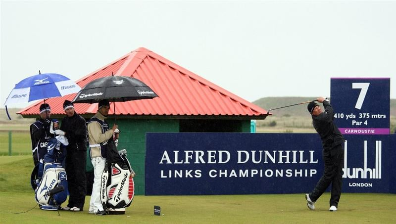 CARNOUSTIE, UNITED KINGDOM - OCTOBER 04:  Jarmo Sandelin of Sweden plays off the seventh tee during the third round of The Alfred Dunhill Links Championship at Carnoustie Golf Club on October 4, 2008 in Carnoustie, Scotland.  (Photo by Warren Little/Getty Images)