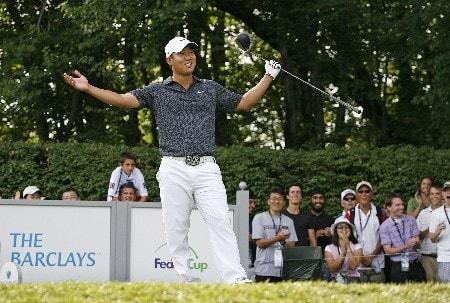 PARAMUS, NJ - AUGUST 23: Anthony Kim reacts to his tee shot on the 17th hole during the third round of The Barclays at Ridgewood Country Club on August 23, 2008 in Paramus, New Jersey. (Photo by Hunter Martin/Getty Images)