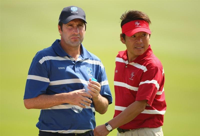 BANGKOK, THAILAND - JANUARY 09:  European Team Captain Jose Maria Olazabal and Asian Team Captain Naomochi ?Joe? Ozaki look on during the foursomes on Day one of The Royal Trophy at the Amata Spring Country Club on January 9, 2009 in Bangkok, Thailand.  (Photo by Ian Walton/Getty Images)