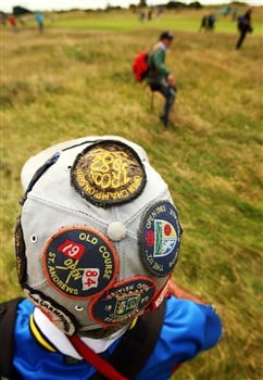 SOUTHPORT, UNITED KINGDOM - JULY 15:  General detail showing a fan's hat with Open Championship badges during the second practice round of the 137th Open Championship on July 15, 2008 at Royal Birkdale Golf Club, Southport, England. (Photo by Richard Heathcote/Getty Images)