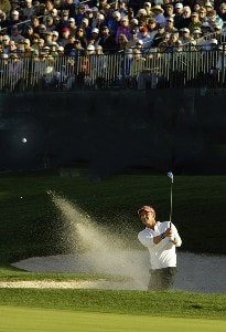Jesper Parnevik blasts out of the greenside bunker on the 18th hole during the final round of the Bob Hope Chrysler Classic at The Classic Club   on Sunday, January 22, 2006 in Palm Desert, CaliforniaPhoto by Marc Feldman/WireImage.com