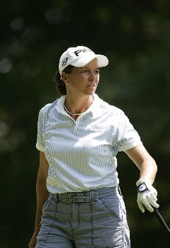 Sherri Steinhauer watches a shot during the first round at the Chick-fil-A Charity Championship, May 12, 2005, at Eagles Landing Country Club, in Stockbridge, GA.Photo by Rex Brown/WireImage.com