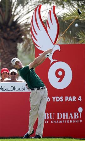 ABU DHABI, UNITED ARAB EMIRATES - JANUARY 23:  Rhys Davies of Wales on the par four 9th hole during the third round of the Abu Dhabi Golf Championship at the Abu Dhabi Golf Club on January 23, 2010 in Abu Dhabi, United Arab Emirates.  (Photo by Ross Kinnaird/Getty Images)