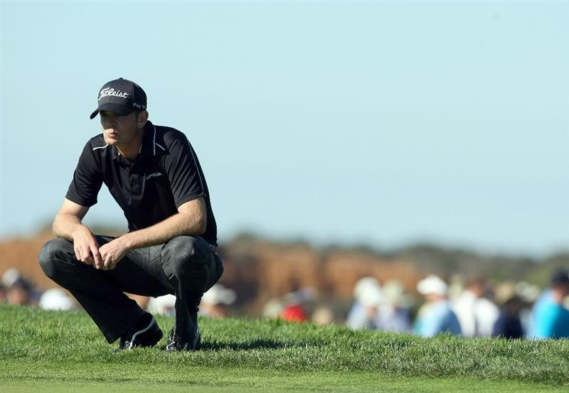 LA JOLLA, CA - JANUARY 28:  Brendan Steele lines up his putt on the 4th hole during the second round of the Farmers Insurance Open at Torrey Pines on January 28, 2011 in La Jolla, California. (Photo by Donald Miralle/Getty Images)