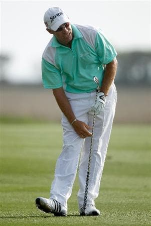 HILTON HEAD ISLAND, SC - APRIL 18:  Brian Davis of England reacts to a poor approach on the first playoff hole during the final round of the Verizon Heritage at the Harbour Town Golf Links on April 18, 2010 in Hilton Head lsland, South Carolina.  (Photo by Scott Halleran/Getty Images)
