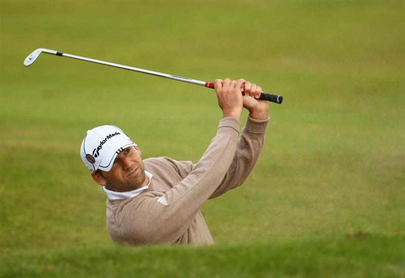 TURNBERRY, SCOTLAND - JULY 14:  Sergio Garcia of Spain hits from a bunker during a practice round prior to the 138th Open Championship on the Ailsa Course, Turnberry Golf Club on July 14, 2009 in Turnberry, Scotland.  (Photo by Richard Heathcote/Getty Images)