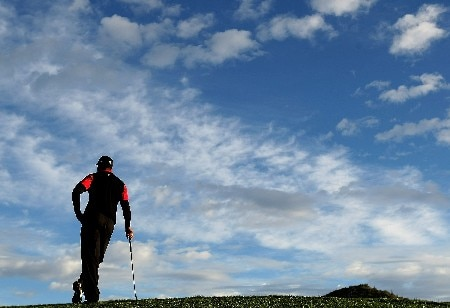 MARANA, AZ - FEBRUARY 24:  Tiger Woods waits on the first green during the Championship match of the WGC-Accenture Match Play Championship at The Gallery at Dove Mountain on February 24, 2008 in Marana, Arizona.  (Photo by Scott Halleran/Getty Images)