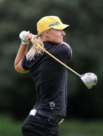 NORTH PLAINS, OR - AUGUST 28: Anna Nordqvist of Sweden tees off on the 18th hole during the first round of the Safeway Classic on August 28, 2009 at Pumpkin Ridge Golf Club in North Plains, Oregon. (Photo by Steve Dykes/Getty Images)***Local Caption***Anna Nordqvist