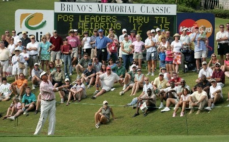Dana Quigley in action at the 18th during the final round of the Bruno's Memorial Classic, May 22,2005, held at Greystone GC, Birmingham, Al. Weibring shot 15 under par for the tournament.Photo by Stan Badz/PGA TOUR/WireImage.com