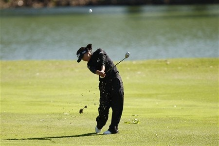 BROKEN ARROW, OK - MAY 02: Mi Hyun Kim hits a shot on the 5th hole during the second round of the SemGroup Championship presented by John Q. Hammons on May 2, 2008 at Cedar Ridge Country Club in Broken Arrow, Oklahoma. (Photo by G. Newman Lowrance/Getty Images)