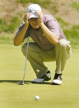 Jeff Quinney line up his putt on the sixth hole during the final round of the Nationwide Tour Xerox Classic in Rochester, New York, New York, Aug. 21, 2005.Photo by Kevin Rivoli/WireImage.com