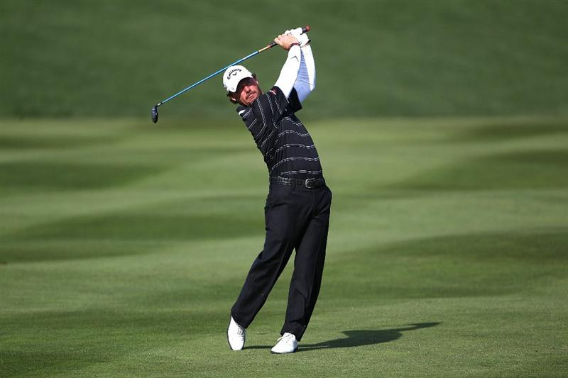 PEBBLE BEACH, CA - FEBRUARY 13:  Alex Cejka of Germany hits from the second fairway at the AT&T Pebble Beach National Pro-Am- Final Round at the Pebble Beach Golf Links on February 13, 2011 in Pebble Beach, California.  (Photo by Jed Jacobsohn/Getty Images)