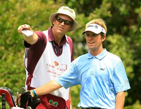 FT. WORTH, TEXAS - MAY 24:  Brett Quigley chats with his caddie on the ninth hole during the third round of the Crown Plaza Invitational at the Colonial Country Club on May 24, 2008 in Ft. Worth, Texas.  (Photo by Scott Halleran/Getty Images)