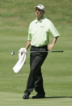 Kevin Sutherland after a birdie on the 17th hole during the first round of the Buick Championship at the TPC at River Highlands in Cromwell, Connecticut on August 25, 2005.Photo by Michael Cohen/WireImage.com