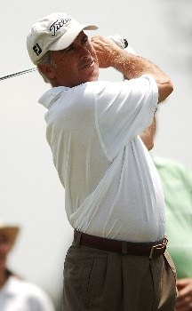 Curtis Strange hits from the 11th tee during the first round of the FedEx Kinko's Classic at the Hills Country Club in Austin, Texas April, 29, 2005.Photo by Steve Grayson/WireImage.com