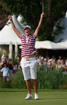 EVIAN, FRANCE - JULY 27:  Helen Alfredsson of Sweden celebrates after holing a putt at the third play-off hole to win the Evian Masters at the Evian Masters Golf Club on July 27, 2008 in Evian, France.  (Photo by Andrew Redington/Getty Images)