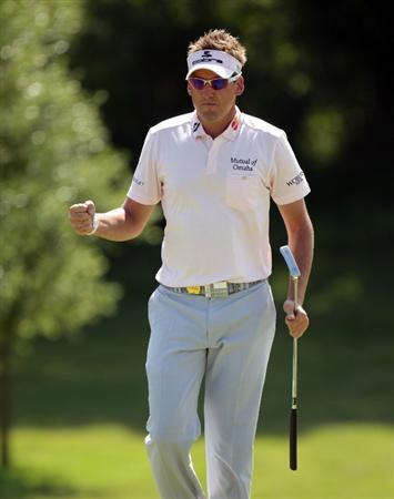 CASARES, SPAIN - MAY 22:  Ian Poulter of England celebrates during the Volvo World Match Play Championship at Finca Cortesin on May 22, 2011 in Casares, Spain.  (Photo by Ross Kinnaird/Getty Images)