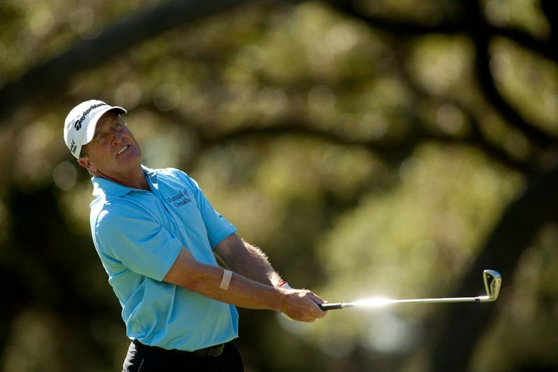 SAN ANTONIO, TX - OCTOBER 29: Fred Funk watches a tee shot during the first round of the AT&T Championship at Oak Hills Country Club on October 29, 2010 in San Antonio, Texas. (Photo by Darren Carroll/Getty Images)