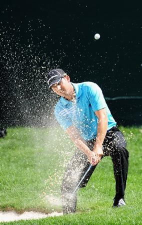 AKRON, OH - AUGUST 07:  Sergio Garcia of Spain plays his bunker shot on the 18th hole during the second round of the World Golf Championship Bridgestone Invitational on August 7, 2009 at Firestone Country Club in Akron, Ohio.  (Photo by Stuart Franklin/Getty Images)