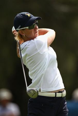 GOLD COAST, AUSTRALIA - MARCH 07:  Karrie Webb of Australia plays a fairway wood on the 12th hole during round four of the 2010 ANZ Ladies Masters at Royal Pines Resort on March 7, 2010 in Gold Coast, Australia.  (Photo by Ryan Pierse/Getty Images)