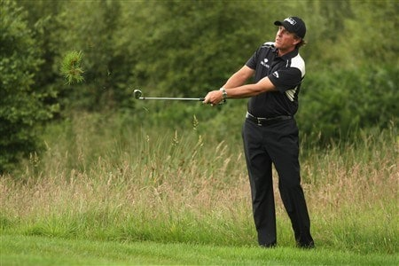 LUSS, UNITED KINGDOM - JULY 11:  Phil Mickelson of USA hits out of the rough on the 14th hole during the Second Round of The Barclays Scottish Open at Loch Lomond Golf Club on July 11, 2008 in Luss, Scotland.  (Photo by Warren Little/Getty Images)