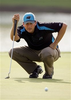 CHARLOTTE, NC - MAY 02:  Ben Curtis lines up a putt on the 17th hole during the second round of the Wachovia Championship at Quail Hollow Country Club on May 2, 2008 in Charlotte, North Carolina.  (Photo by Sam Greenwood/Getty Images)