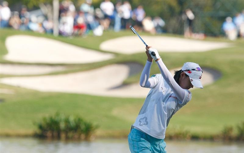 RICHMOND, TX - NOVEMBER 23:  Na Yeon Choi of South Korea hits her tee shot on the 17th hole during the final round of the LPGA Tour Championship presented by Rolex at the Houstonian Golf and Country Club on November 23, 2009 in Richmond, Texas.  (Photo by Scott Halleran/Getty Images)