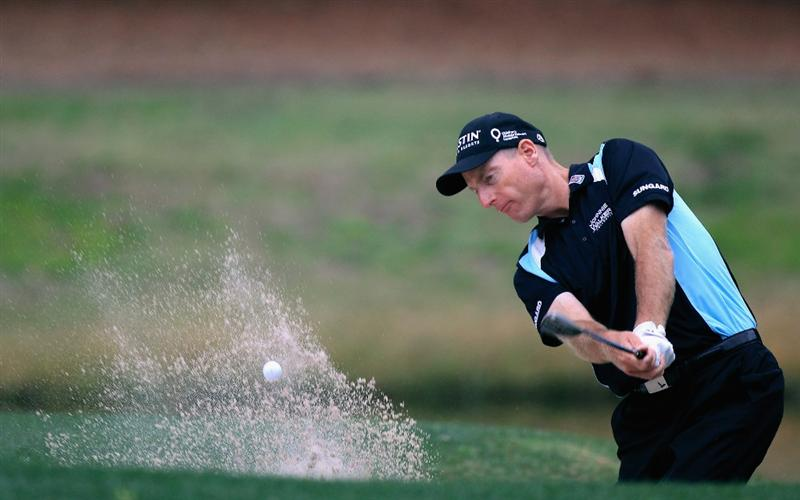 HILTON HEAD ISLAND, SC - APRIL 22:  Jim Furyk hits a shot from the sand on the 7th hole during the second round of The Heritage at Harbour Town Golf Links on April 22, 2011 in Hilton Head Island, South Carolina.  (Photo by Streeter Lecka/Getty Images)