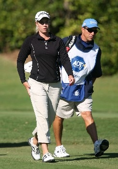 WEST PALM BEACH, FL - NOVEMBER 16:  Brittany Lincicome with her caddie Greg Johnston on the third hole during the second round of the 2007 ADT Championship at the Trump International Golf Club on November 16, 2007 in West Palm Beach, Florida  (Photo by Scott Halleran/Getty Images)