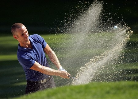 PARAMUS, NJ - AUGUST 21:  Richard S. Johnson of Sweden plays a shot from the bunker on the 13th hole during the first round of The Barclays at Ridgewood Country Club on August 21, 2008 in Paramus New Jersey.  (Photo by Sam Greenwood/Getty Images)